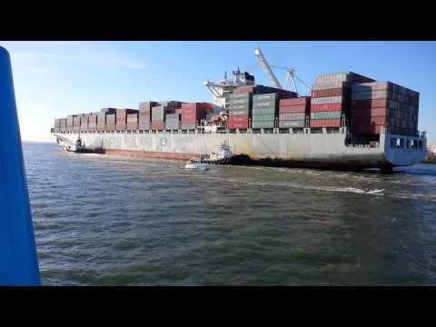 Ferry Ride View, Port of Oakland. Container Ship Cosco Korea Hong Kong