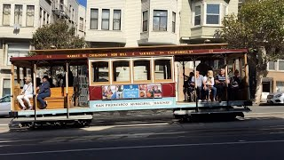 California Street Cable Car 52 @ California St & Hyde St San Francisco California (Slow Motion)