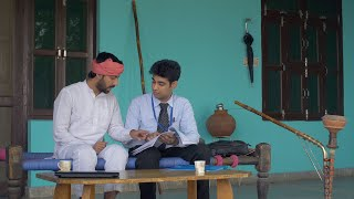 Young Indian farmer getting information about health insurance policy from an agent
