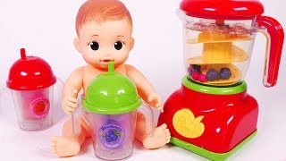 Blender Fruit Smoothie and Baby Doll Toy Playset for Kids Kitchen