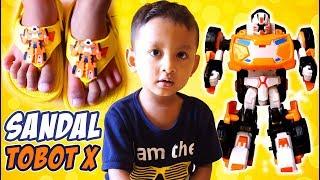 BARU!!! Sandal Tobot X, Super Keren & Lucu | Video Anak Belajar Memakai Sandal