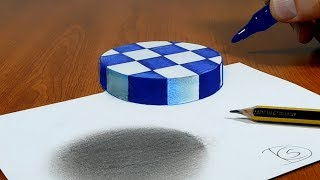 3D Trick Art on Paper, Try to do Floating chess
