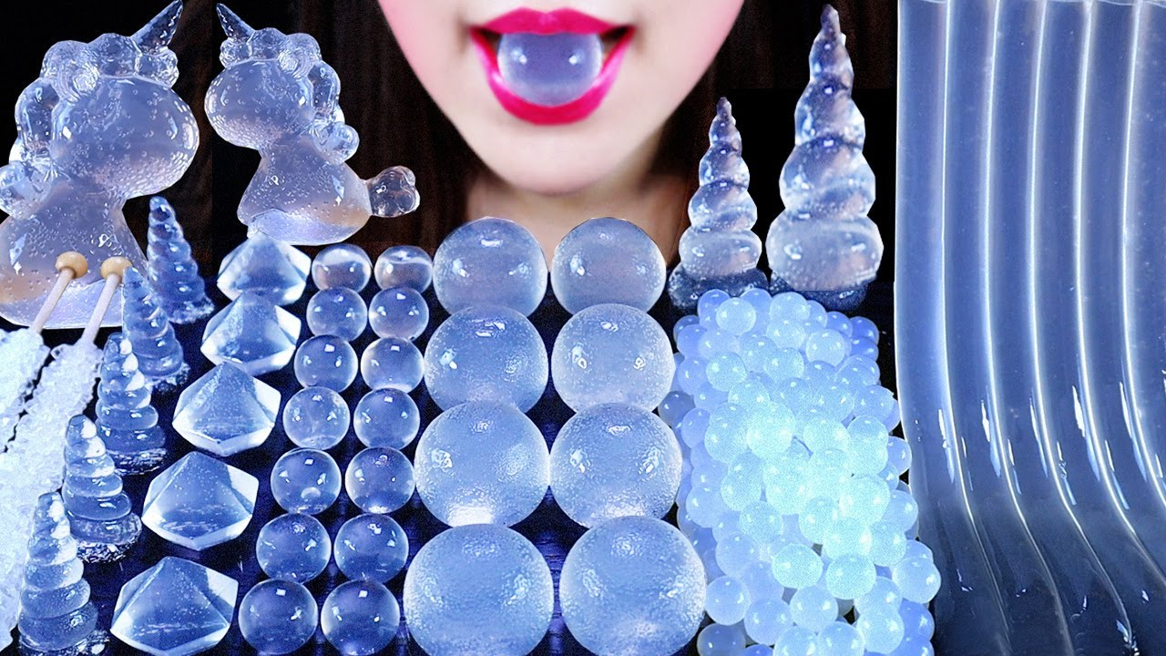 ASMR 🥛CLEAR FOOD UNICORN CLEAR JELLY HORN JELLYNOODLES POPPINGBOBA TREE KYOHO JELLY ROCK CANDY