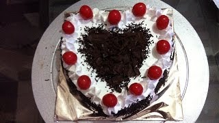 Heart Shape Black Forest Cake Made at Home