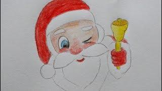 🎅🔔 Weihnachtsmann malen mit Glocke - How to draw a Santa Claus - как нарисовать деда мороза