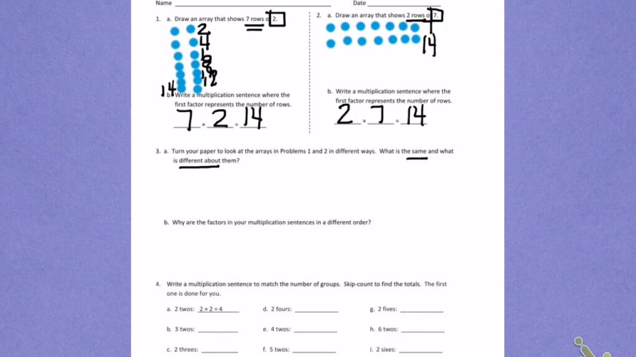 hight resolution of Engage NY third grade Module 1 Lesson 7 front - YouTube