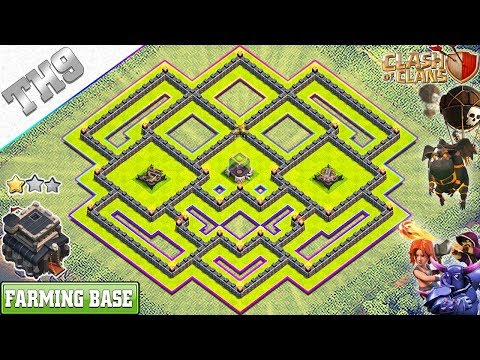 New TH9 Dark Elixir farming base (X-Bows Island) 2018 - Clash of Clans