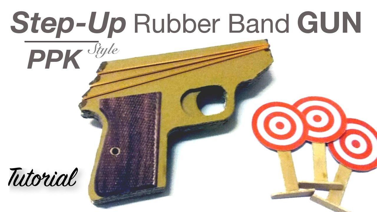 step up cardboard rubber band gun james bond ppk inspired youtube