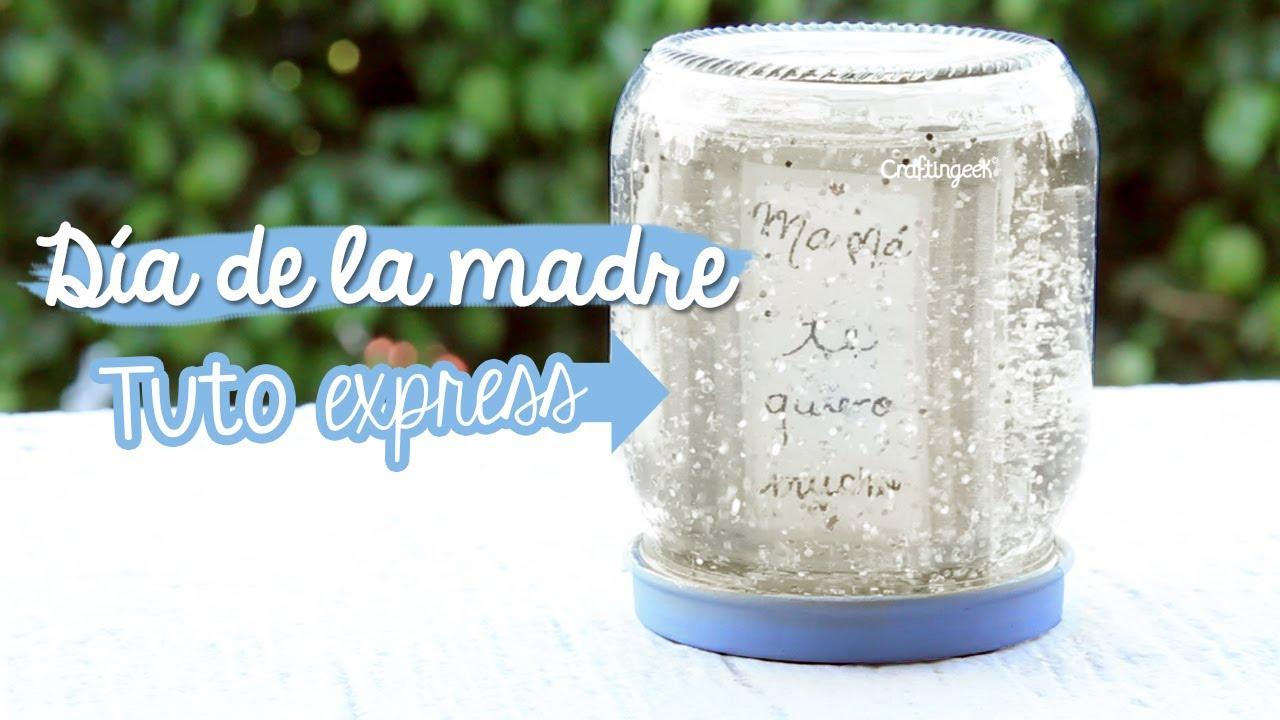 Feliz d a de la madre manualidad express frasco nevado - Cosas originales para decorar ...