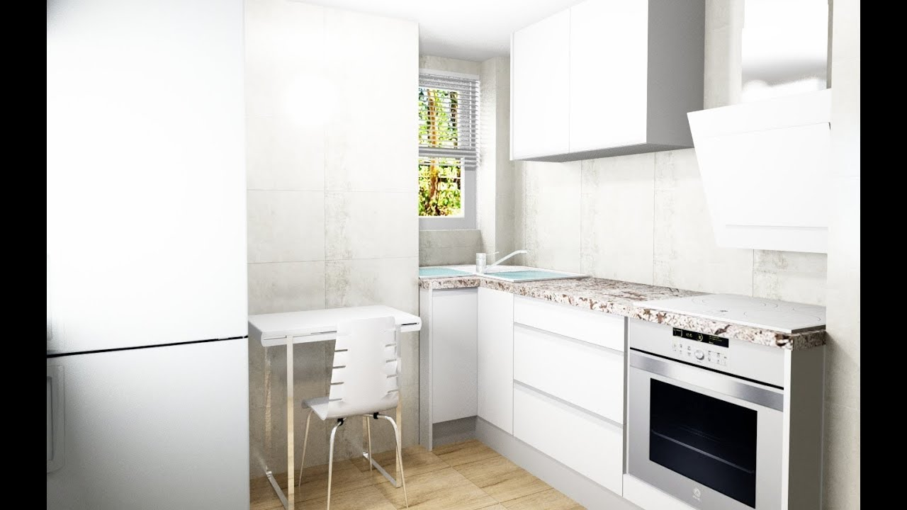 Diseño 3D mueble Cocina Valencia acabado Blanco - YouTube