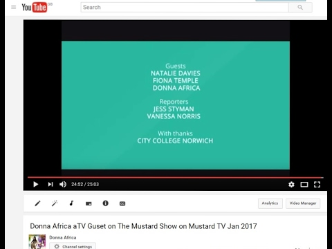 Donna Africa TV Guest on The Mustard Show on Mustard TV Jan 2017