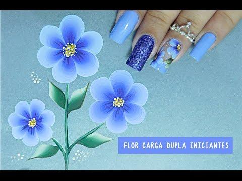 Unhas Decoradas com Flor em CARGA DUPLA Fácil #1 iniciantes CURSO ONLINE - Cusoaline.com