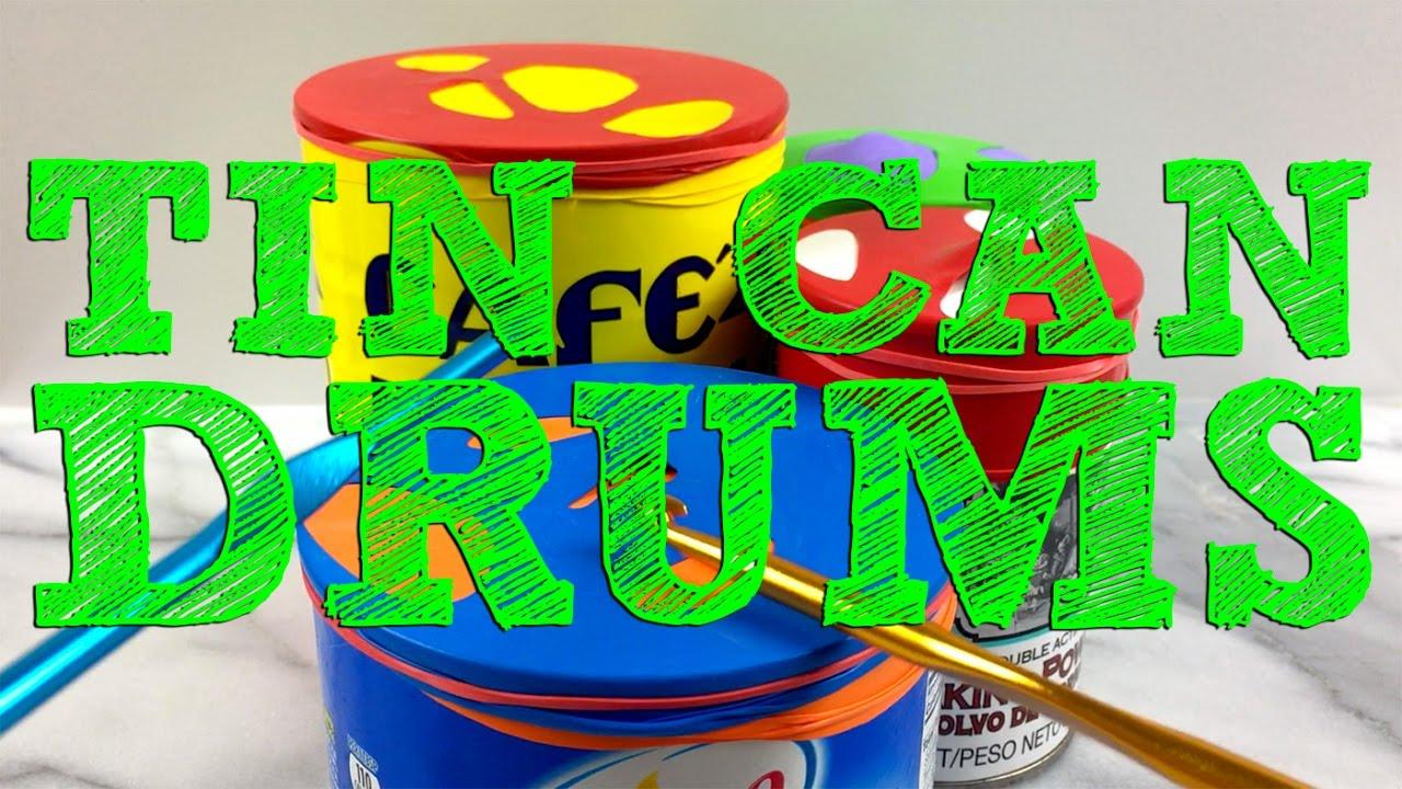 diy tin can drums for kids youtube. Black Bedroom Furniture Sets. Home Design Ideas