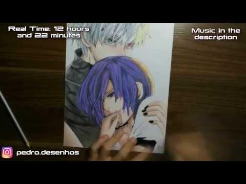 Speed Drawing Kaneki And Touka Tokyo Ghoul Youtube
