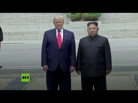 Momento histórico: Trump, primer presidente de EE.UU. que entra en Corea del Norte