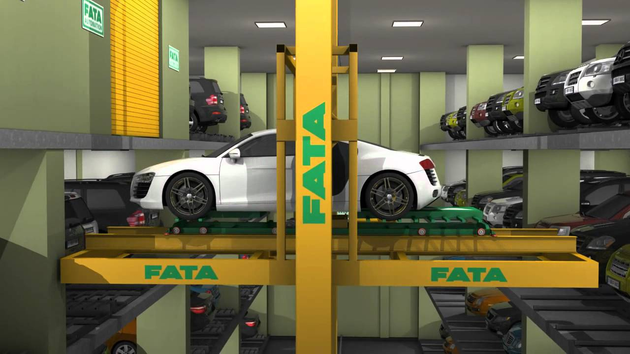 FATA Crane Automated Parking System - YouTube