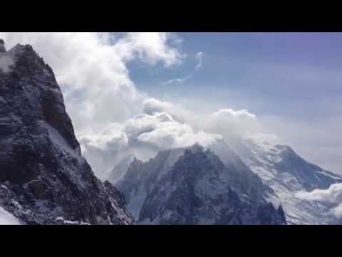 View of Mont-Blanc and Glacier D'Argentiere from the top of Les Grands Montets
