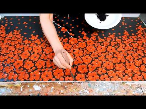 How to paint Cherry Blossom Tree with Acrylic. Textured. Demo. Baum malen mit Acrylfarben by ilonka