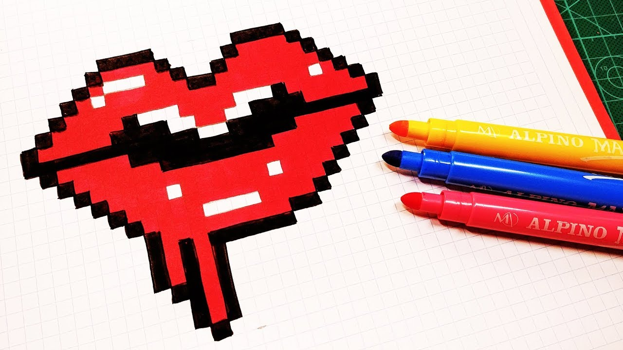 Halloween Pixel Art How To Draw Bloody Lips Pixelart Youtube