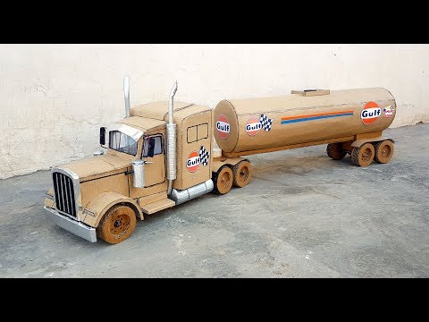 How to make a oil tanker truck|| Peterbit 369 truck|| DIY|| Awesome GULF oil Tanker.Electric truck