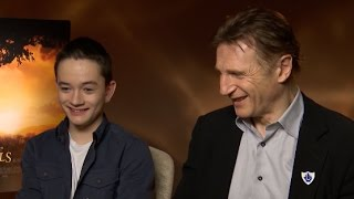liam neeson lewis macdougall share their nightmares a monster calls interview