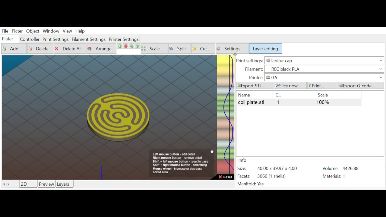 COOL variable layer thickness editor in Slic3r Prusa Edition 1 35 2