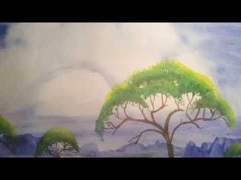 #InternationalArt Watercolor African Landscape