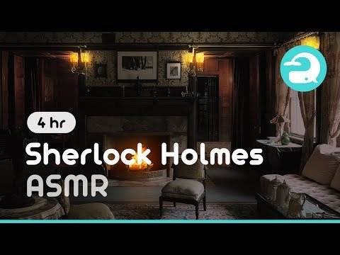 Sherlock Holmes Cozy Room Ambience / Cozy Fireplace & Rainy Day #230