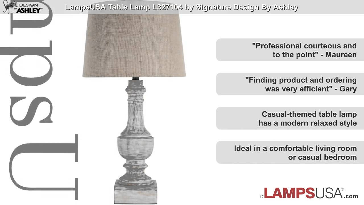 Ashley 1 Light 3 Way Table Lamp White Wash L327104