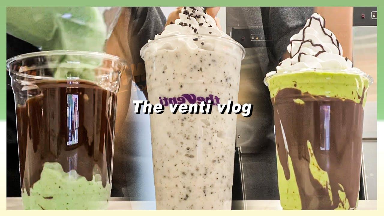 [더벤티  Cafe Vlog] 더운데도 열심히 일하는 나, 제법 젠틀해요 더벤티 알바생 브이로그/말차초코칩프라페/민트크런치프라페/딸기쉐이크/쿠키앤크림프라페/더블에스프레소쉐이크