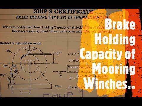 Merchant Navy Life Brake Holding Capacity Test of Mooring Winch
