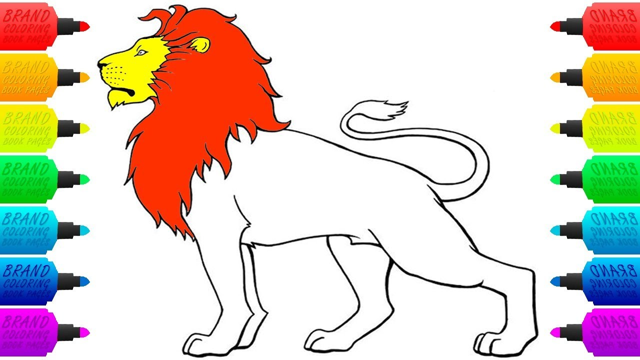 How to draw lion coloring pages for children drawing and colouring animals art colors for kids