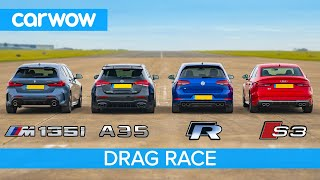 New BMW M135i v AMG A35 v Audi S3 v VW Golf R - DRAG RACE, ROLLING RACE & BRAKE TEST!