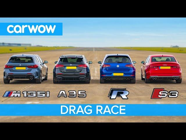 New BMW M135i v AMG A35 v Audi S3 v VW Golf R - DRAG RACE, ROLLING RACE & BRAKE TEST!