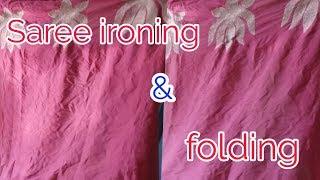 How to Saree ironing /Finnishing &folding perfectly..Saree press