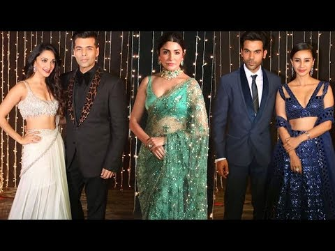 Anushka Sharma, Karan Johar, Rajkummar Rao, Aayush Sharma At Priyanka Nick Mumbai Reception 2018