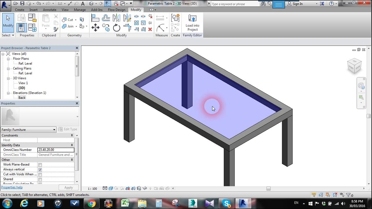 Parametric Table with Glass Panel _ Revit Families - YouTube