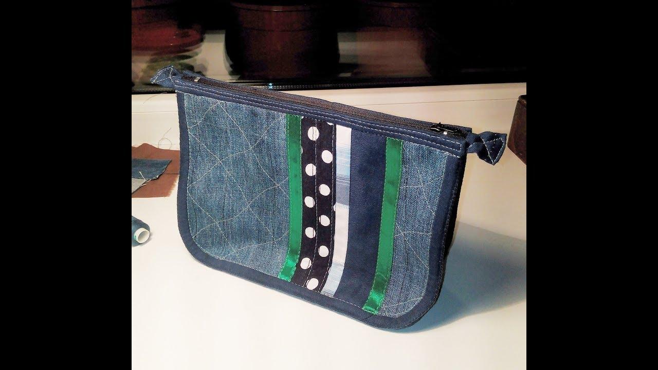 ca1a249208be сумка косметичка своими руками из джинсов сшить самой дома - YouTube