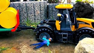 BRUDER RC tractor stuck in the mud! RESCUE MISSION with RC Claas tractor for kids