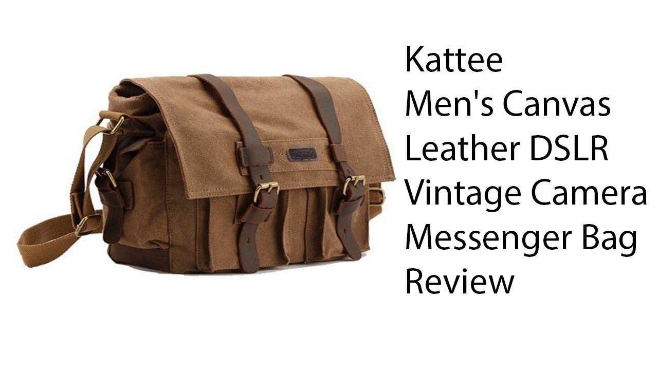 ad38a4aac74d Kattee Men s Canvas Leather DSLR SLR Vintage Camera Messenger Bag Review
