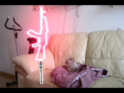 Star Wars Parodia Rogue one Gato con sable de luz
