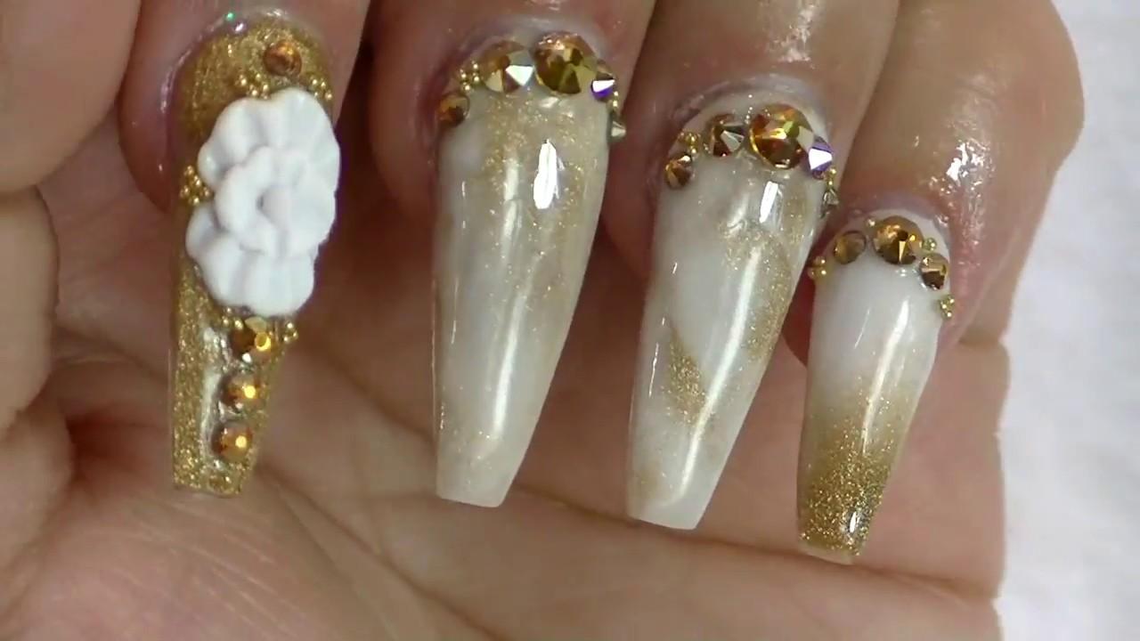 Uñas efecto mármol Oro / uñas sencillas y elegantes Gold Marble ...