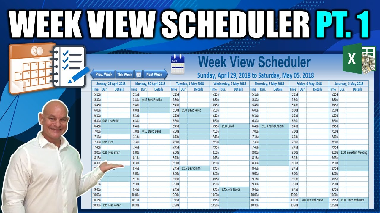 how to create this amazing week view schedule in excel part 1