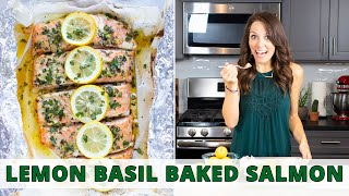 Lemon & Basil Baĸed Salmon in Foil