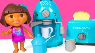 Dora The Explorer Coffee Maker & Toaster Play@Home Cooking Set Kitchen Appliance Set Toy Food