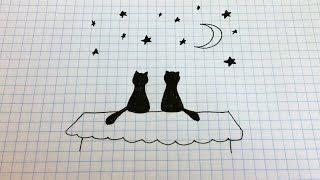 Простые рисунки #126 Кошечки на крыше =)