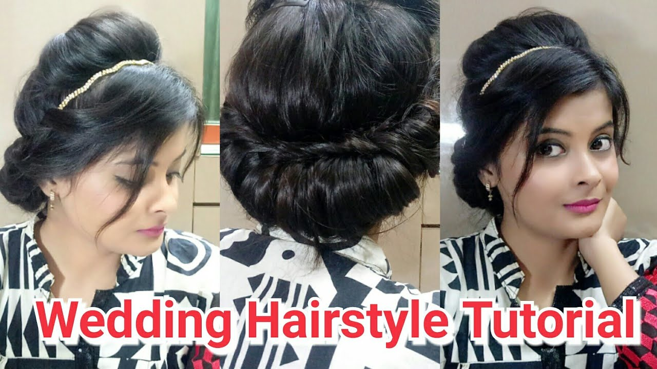 Easy Hairstyle Tutorial for Party Wedding || Hairstyle for Gown ...