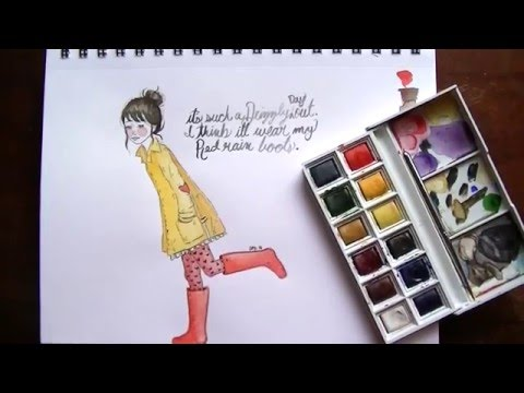 WATERCOLOR WITH  ME | RAIN BOOTS GIRL