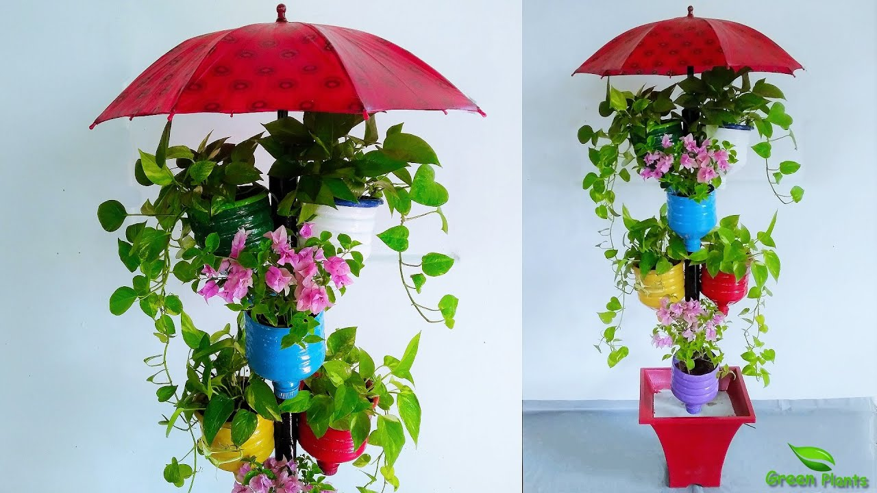 Recycle Plastic Bottles into Colorful Vertical Flower Garden | Tower Garden Idea//GREEN PLANTS