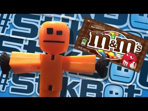 STIKBOT GETS TURNED INTO M&MS!! - #Stikbot Stop Motion Animation
